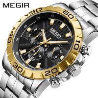 2019 New MEGIR Watch Men Chronograph Quartz Business Mens Watches Waterproof