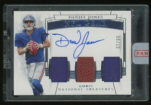 2019 Panini National Treasures Daniel Jones Giants RC Jersey Ball AUTO /99