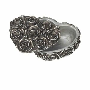 Alchemy Gothic Rose Heart Shaped Antique Silver Resin Trinket Box Giftware 9cm