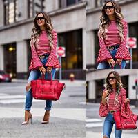 US STOCK Women Long Sleeve Shirt Casual Blouse Loose Sleeses Tops T-Shirt