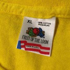 Vintage 80s 90s Fruit of the Loom Blank Plain Yellow Grunge Surf T Shirt Usa