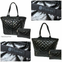 LeSportsac Black Crinkle Quilted Patent EveryGirl Tote + Cosmetic Bag Free Ship