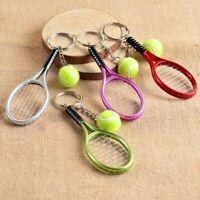 Creative Mini Tennis Ball Racket Pendant Car Key Chain Ring Keychain Sports Gift