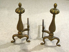 Pair of Antique HEAVY BRASS IRON FIREPLACE ANDIRONS