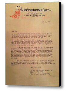Framed New York Giants replica 1943 contract offer John Mara signed Man Cave