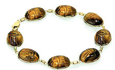 14K Yellow Gold Tiger Eye Scarab Gemstone Bracelet 7.5 Inches