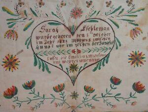 AAFA  Dated 1828 Heart Fraktur Watercolor Folk Art Primitive Country