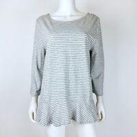 Gap Womens Size XL Knit Blouse Top 3/4 Sleeve Boatneck Gray White Striped Peplum