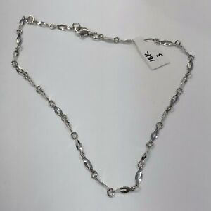 """18K Solid White Gold Diamond Cut Chain Anklet 3 Grams. 10"""" - Women Italy"""