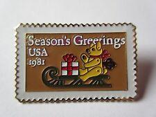 1981 Bear On Sled Seasons Greetings 1940 20c Stamp pin Usps pinback New