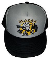 Alaska Black Gray  Snapback Mesh Trucker Hat Cap Bear Eagle Salmon
