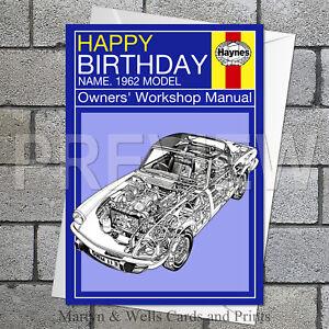 Haynes Manual birthday card. 5x7 inches Car, Triumph. Personalised plus envelope