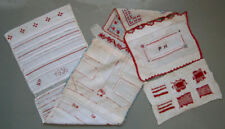1936 -1937 VINTAGE DUTCH LONG NEEDLEWORK SAMPLER SEWING MENDING STITCHING