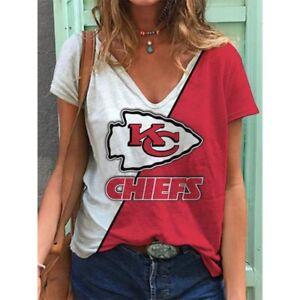 Kansas City Chiefs Women Summer Short Sleeve Blouse Casual V-Neck T Shirt Tops