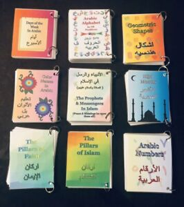 Arabic Flash Cards  9 Booklets Alphabet-Days-Hijri-Numbers-Shapes-Colors +more