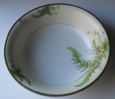 "10"" HAND PAINTED FERNS on PORCELAIN BOWL Marked with RED GRIFFIN on PRUSSIA BOX"