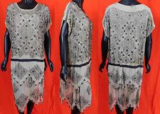 Vintage 1920s Art Deco Gray Silk Silver Beaded Spiral Spiderweb Flapper Dress