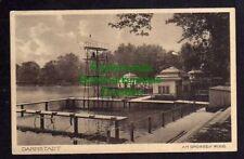 120822 AK Darmstadt 1927 Am grossen Woog Freibad Sprungturm