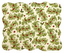 Christmas Holly Berry's Reversible Quilted Placemat