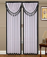4PC SET AMY ROD POCKET FAUX SILK 2 TONE WINDOW CURTAIN 2PANELS + 2ROUND VALANCES