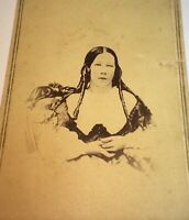 Antique American Civil War Era Beauty, Long Curly Hair! Nashua, NH CDV Photo! US