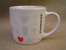 """Starbucks """"Things I Love"""" Red Heart & Symbols 7.8 oz. Espresso Coffee Mug Cup"""