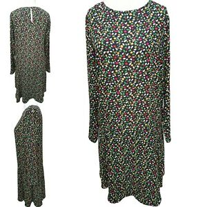NEXT Shift Dress Womens 14 Tall red green black ditsy floral long sleeve