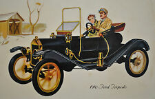 Collector Tin Serving Tray 1910 Ford Automobile Torpedo Car Metal Design Black