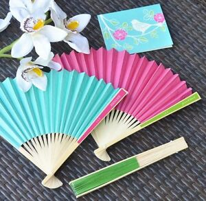 Personalized Colored Paper Hand Fan Beach Spring Outdoor Wedding Favor 7 Colors