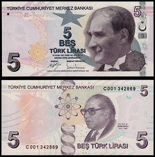 TURKEY 5 LIRA (P222c) 2009 FIRST PREFIX C001 UNC