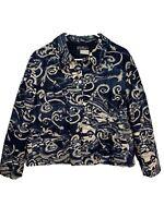 Salvatore Ferragamo Jacket Silk Polyester Blue Size 14