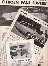Two 1957 CITROEN DS 19 GODDESS Australian 2 Page Reprint Test Brochure Handouts