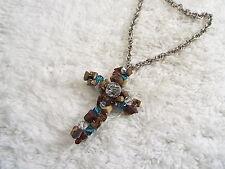 Silvertone Mixed Jasper Stone & Clear Blue Crystal Bead CROSS Necklace  (D63)