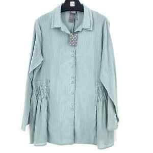 Lilith Paris Women's Gray Button Up Top Pleated Sides Tunic Top Size 46