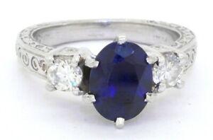 Heavy Platinum 2.50CT VS1/G diamond & Blue sapphire cocktail ring size 5.75