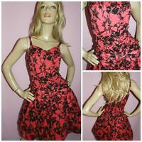 80s RED BLACK GLITTER BUBBLE HEM BOW FRONT PROM PARTY DRESS 12 M 1980s EVENING