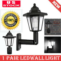 1Pair Solar Power LED Wall Lamp Waterproof Hexagonal Outdoor Sconce Night Light