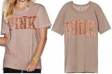 VICTORIA'S SECRET Pink Campus Bling T-Shirt XSmall Lavender Rain Oversize NWT