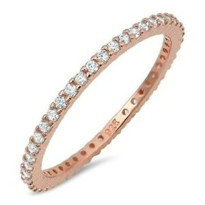 Ring Sterling Silver 925 Rose Gold Plated Clear CZ Band Width 1.5 mm Size 4