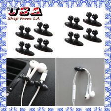 8PCS Black Tie Fixer Organizer Wire Cord Clip USB Cable Line Holders Universal