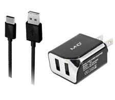 2-in-1 USB Type C Chargers for Honor 9, 8 Pro (Black) - 2.1Ah Travel Charger Ada