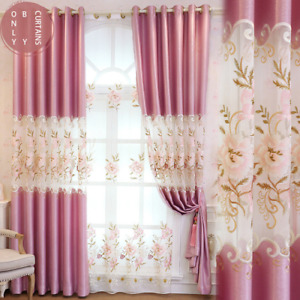 Curtain Fabric European Curtains For Dining Room Bedroom Half Shade Embroidery