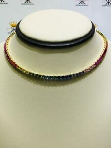 Yellow Gold Sterling Silver Rainbow Sapphire 3.50mm Stone Choker Tennis Necklace