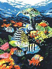 Pjs74 Ocean Profonde sous-marine poissons tropicaux & TORTUE peinture A4 Peinture par numéros
