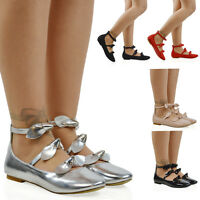 Womens Flat Ballet Pumps Ladies Ankle Strap Bow Zip Loafers Dolly Shoes Size 3-8