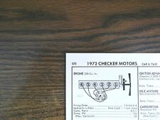 1972 Checker Motors SIX Series Car & Taxi Models 250 CI L6 Tune Up Chart