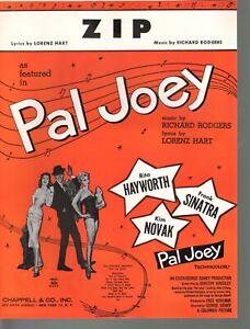 Zip 1951 Frank Sinatra Rita Hayworth Kim Novak Pal Joey Sheet Music