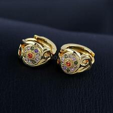 Crystal Yellow Gold Plated Hoop Clip - On Costume Earrings