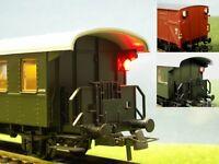 S825 - H0 Zugschlußlaternen LED Zugschlußbeleuchtung mit Schleifer + Elko AC/DC