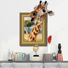 US Giraffe 3D Removable Wall Sticker For Kids Bedroom Animal Decal Mural Decor
